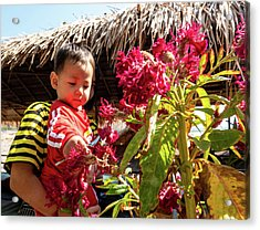 A Small Person With Reflected Flowers Acrylic Print