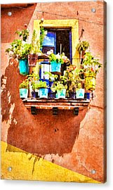 Acrylic Print featuring the photograph A Small Suspended Garden In Mexico - Digital Paint by Tatiana Travelways