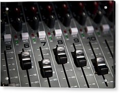 A Sound Mixing Board, Close-up, Full Acrylic Print by Tobias Titz
