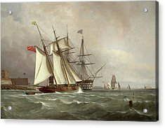 A Trading Schooner Overhauling A First Rate Off Garrison Point, Sheerness Acrylic Print