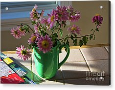 Acrylic Print featuring the photograph A Traveler Still Life With Autumn Flowers by Tatiana Travelways