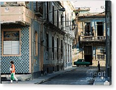A View Of Crumbling Buildings In Havana Acrylic Print