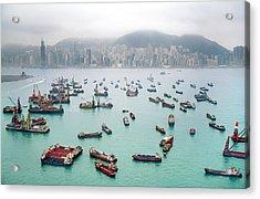 A View Of Hong Kong Harbor Through A Acrylic Print