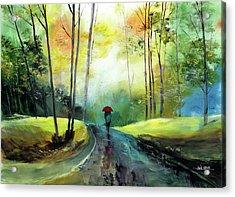 A Walk In The Rain Acrylic Print