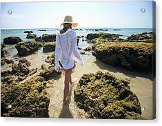 A Woman Tourist Enjoys The Sunshine On Acrylic Print