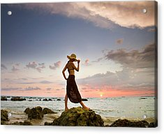 A Woman Wearing A Hat And Sarong Stands Acrylic Print
