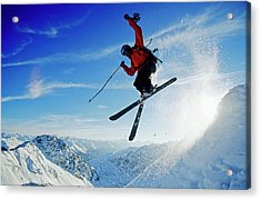 A Young Skier, A Freerider Jumping Over Acrylic Print