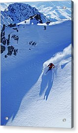 A Young Skier, A Freerider Skiing In Acrylic Print