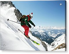 A Young Skier, A Freerider Skis Down A Acrylic Print