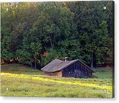 Abandoned Hay Barn At Sunrise Acrylic Print