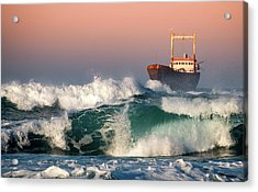 Acrylic Print featuring the photograph Abandoned Ship And The Stormy Waves by Michalakis Ppalis