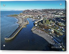 Aberystwyth Harbour From The Air In Winter Acrylic Print