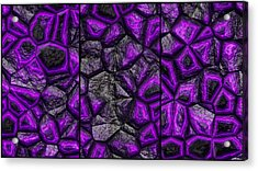 Abstract Deep Purple Stone Triptych Acrylic Print