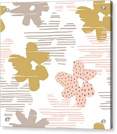 Abstract Floral Seamless Pattern With Acrylic Print