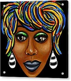 Abstract Art Black Woman Retro Pop Art Painting- Ai P. Nilson Acrylic Print