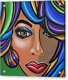 Abstract Woman Artwork Abstract Female Painting Colorful Hair Salon Art - Ai P. Nilson Acrylic Print
