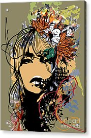 Abstract Print With Female Face Acrylic Print by Alisa Franz