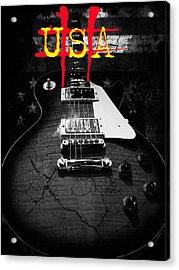 Abstract Relic Guitar Usa Flag Acrylic Print