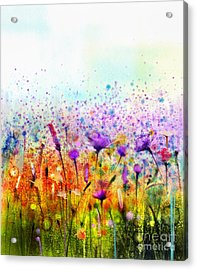 Abstract Watercolor Painting Purple Acrylic Print