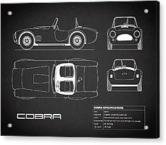 Ac Cobra Blueprint - Black Acrylic Print