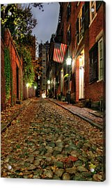 Acrylic Print featuring the photograph Acorn Street At Night - Boston by Joann Vitali