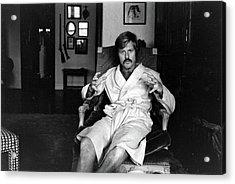 Actor Robert Redford In Bathrobe At Acrylic Print by John Dominis