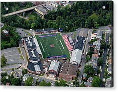 Acrylic Print featuring the photograph Aerial Of Mhs Football Field And School by Dan Friend