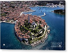 Aerial Shoot Of Old Town Rovinj, Istra Acrylic Print