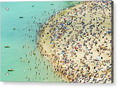 Aerial Shot Of A Crowded Beach Acrylic Print by By Ken Ilio