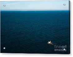 Aerial View Of A Lonely Boat In The Acrylic Print