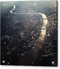 Aerial View Of Cityscape With Thames Acrylic Print by Caspar Schlickum / Eyeem