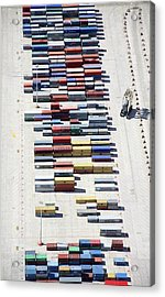 Aerial View Of Containers Waiting To Be Acrylic Print
