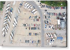 Aerial View Of Dock And Parking Lot Acrylic Print by Floresco Productions