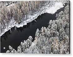 Aerial View Of Forest River In Cold Acrylic Print by Vladimir Melnikov