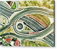 Aerial View Of Freeways In Mexico Acrylic Print by Orbon Alija