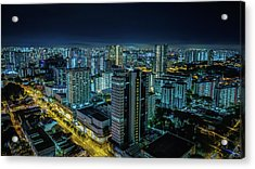 Aerial View Of Illuminated Buildings At Acrylic Print by Jan Berndt / Eyeem