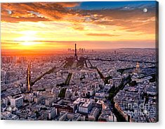 Aerial View Of Paris At Sunset Acrylic Print