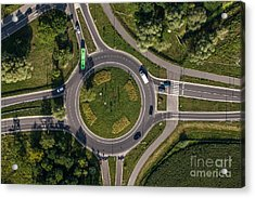 Aerial View Of Roundabout In Wroclaw Acrylic Print