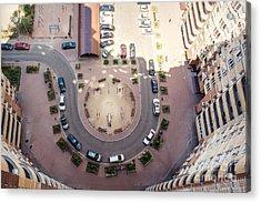 Aerial View Of The Lot Of Cars Near Acrylic Print