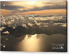 Aerial View Sunset Over Antigua In The Acrylic Print