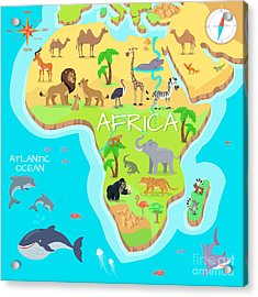 Africa Mainland Cartoon Map With Local Acrylic Print