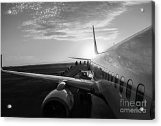 Aircraft In Airport At Sunset Acrylic Print