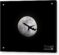 Airliner Passing In Front Of A Full Moon Acrylic Print