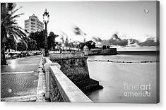 Acrylic Print featuring the photograph Alameda Apodaca Promenade Cadiz Spain Black And White by Pablo Avanzini