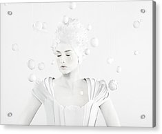 All White Woman In The Center Of Planets Acrylic Print by Paper Boat Creative