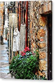 Acrylic Print featuring the photograph Alley View To Shops Pienza by Dorothy Berry-Lound