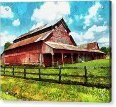 Acrylic Print featuring the digital art Along The Rural Road Old Barn In Tennessee IIi by Rhonda Strickland