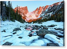 Acrylic Print featuring the photograph Alpenglow At Dream Lake Rocky Mountain National Park by Nathan Bush