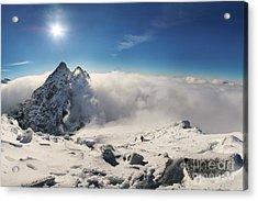 Alpinist Climbing On Rysy Mountain Peak Acrylic Print