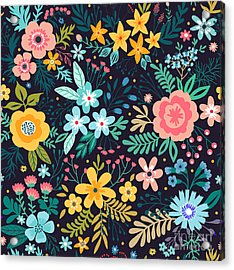 Amazing Floral Pattern With Bright Acrylic Print
